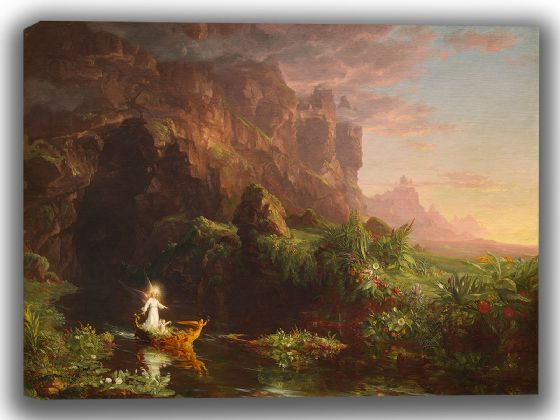 Cole, Thomas: The Voyage of Life I - Childhood. Fine Art Canvas. Sizes: A4/A3/A2/A1 (0029)